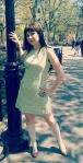 April 16, Washington Square Park, 60s mod sun dress.